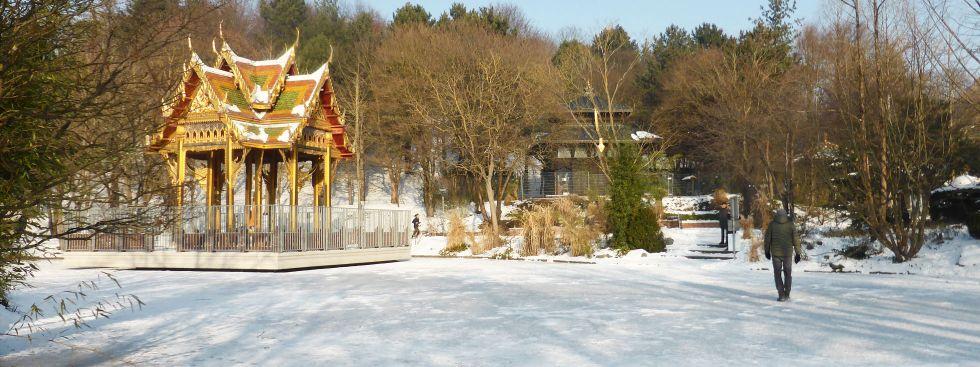 Die Pagode im Westpark im Winter