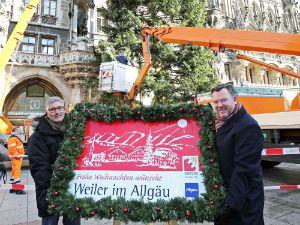 Bürgermeister Josef Schmid und Karl-Heinz Rudolph aus Weiler-Simmerberg bei der Christbaumvorstellung