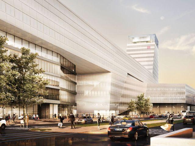 Visualisierung: Das umgeplante Hochhaus am Münchner Hauptbahnhof, Foto: Auer Weber