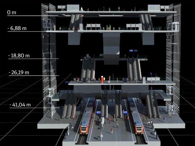 Visualisierung der Station Hauptbahnhof für die 2. Stammstrecke, Foto: Deutsche Bahn AG/Fritz Stoiber Productions GmbH