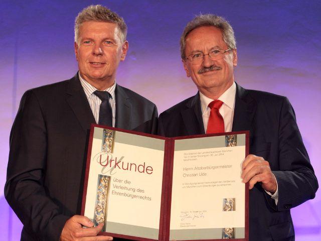 Dieter Reiter verleiht Christian Ude Ehrenbürgerwürde, Foto: Michael Nagy/Presseamt München