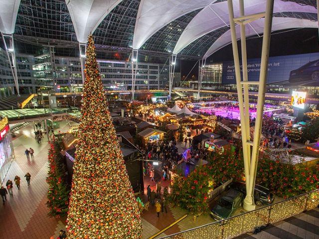 Der Wintermarkt am Flughafen München von oben, Foto: Flughafen München