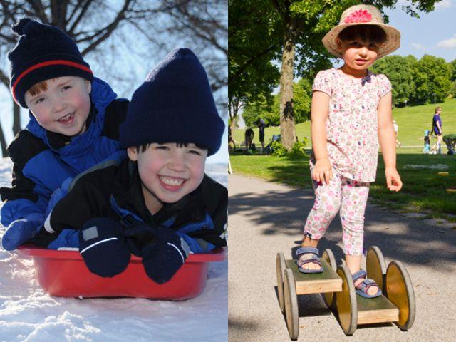 Collage Spielen im Park Winter und Sommer