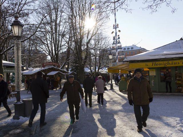 Der winterliche Viktualienmarkt, Foto: Katy Spichal