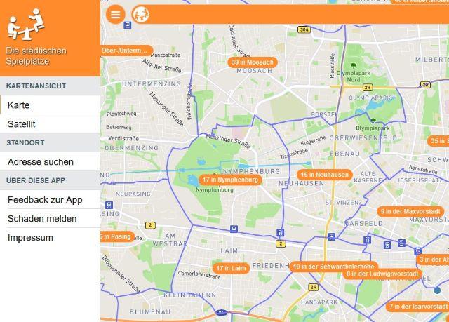 Screenshot der Spielplatz App
