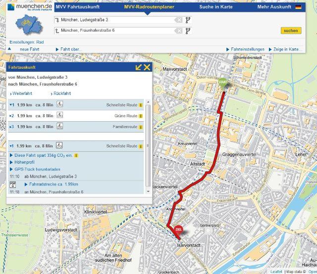 Screenshot des MVV-Routenplaners, Foto: Screenshot muenchen.de