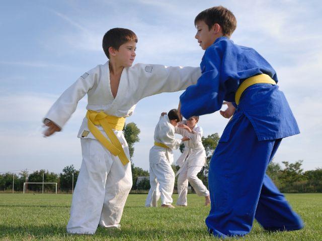 Jungen beim Judotraining auf Sportplatz, Foto: Fotokostic / Shutterstock.com