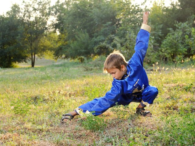 Kind macht Kung Fu in freier Natur, Foto: morozv / Shutterstock.com