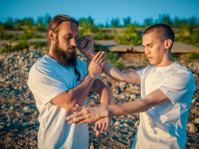 Kämpfer trainieren Kung Fu im Wing Tsun Stil, Foto: Olga L Galkina / Shutterstock.com
