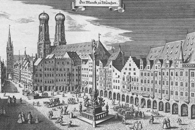 Historische Ansicht vom Marienplatz, Foto: Topographia Germaniae, Ausgabe Topographia Bavariae, 1642 / Wikipedia