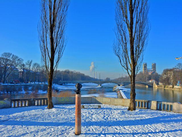 Isar - Wintermorgen an der Corneliusbrücke