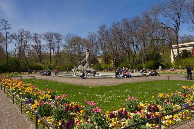 Alter botanischer Garten im Frühling