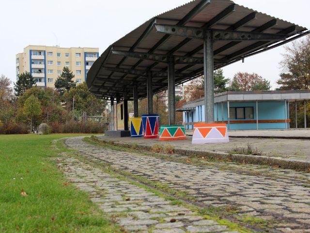 Ehemalige Trambahnhaltestelle am Goldschmiedplatz