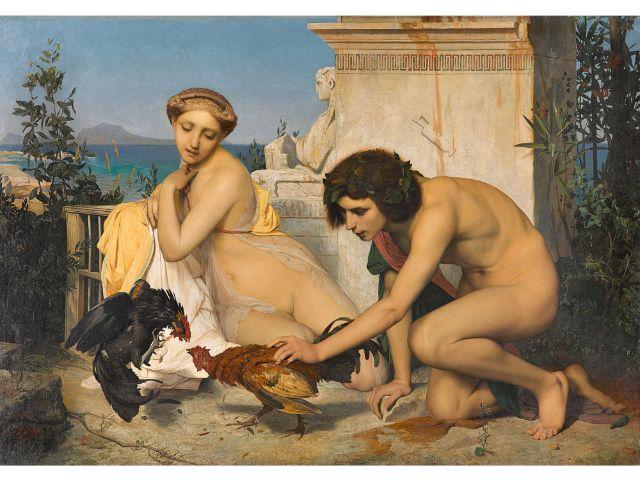 Jean-Léon Gérôme (1824-1904: Junge Griechen beim Hahnenkampf, 1846, 143 x 204 cm, Öl / Leinwand , Foto: bpk / RMN – Grand Palais / Stéphane Maréchalle
