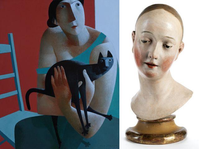 """Peter Harskamp, """"Sitzende mit Katze und grünem Stuhl"""", 2017; """"Kopf eines Manichino"""", Italien Mitte 18. Jh., Foto: Kunst"""