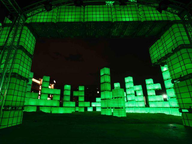 Kubik leuchten grün, Foto: Werksviertel