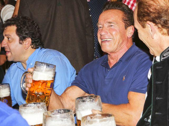Arnold Schwarzenegger feiert auf dem Oktoberfest im Schützenfestzelt, Foto: picture alliance