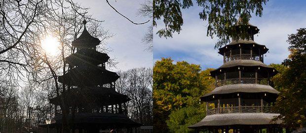 Collage Chinesischer Turm Winter und Herbst