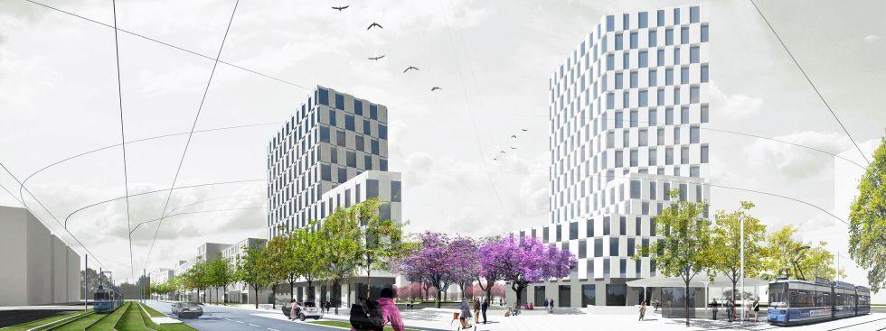 Visualisierung des Entwurfs von LAUX Architekten für die Westend- und Zschokkestraße, Foto: LAUX Architekten GmbH, München, mit STUDIO VULKAN Landschaftsarchitektur, Zürich