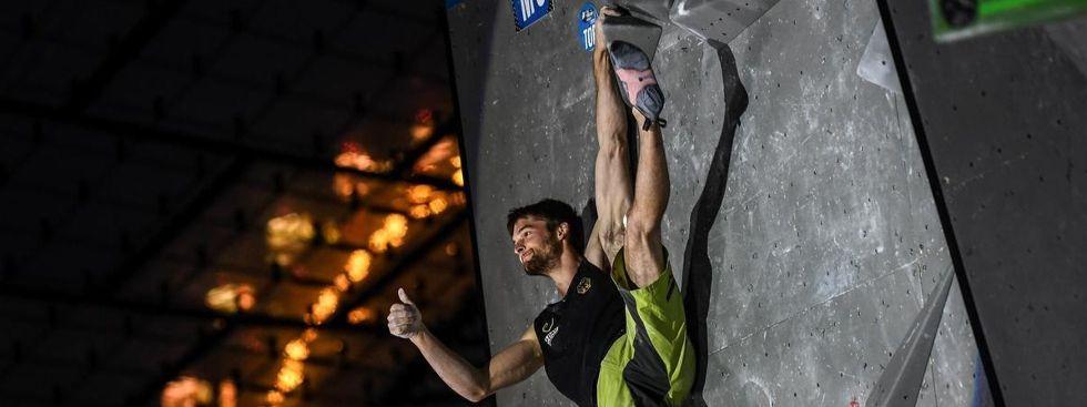 Jan Hojer beim Boulderweltcup, Foto: DAV/Nils Nöll