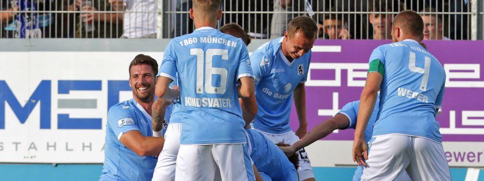 Jubel bei den Löwen nach dem 1:0 Führungstreffer., Foto: dpa