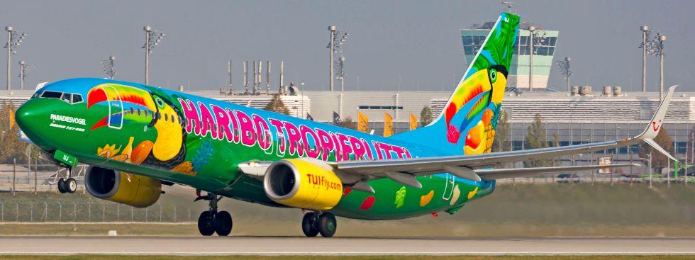 Flugzeug mit Haribo-Motiv, Foto: Flughafen München