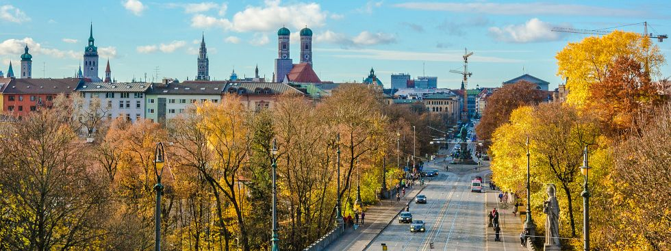München-Panorama im Herbst, Foto: muenchen.de/Michael Hofmann