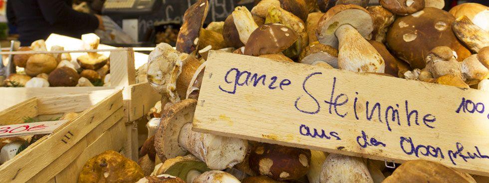 Pilze im Verkauf am Viktualienmarkt, Foto: muenchen.de/Katy Spichal