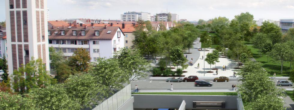 Visualisierung Heckenstallerstraße/ Heckenstallerpark, Foto: Baureferat/form 3d
