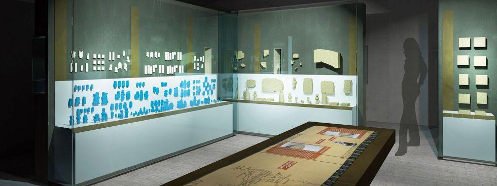 """Visualisierung des """"Kunsthandwerk""""-Raums im Ägyptischen Museum, Foto: SMÄK / Die Werft"""