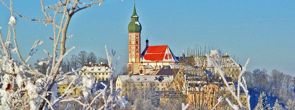 Das Kloster Andechs im Winter, Foto: Kloster Andechs/Hermann Baar