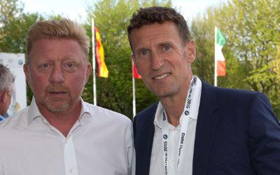 Boris Becker (li.) mit Turnierdirektor Patrik Kuehnen bei den BMW Open 2015
