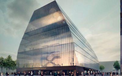 Entwurf für das Konzerthaus im Werksviertel München vom Büro Cukrowicz Nachbaur Architekten ZT GmbH aus Bregenz - 1. Platz im Architekturwettbewerb