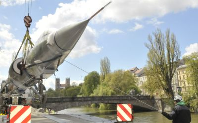 Starfighter wird vom Deutschen Museum nach Schleißheim transportiert