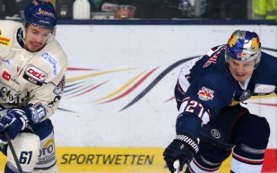 Spielszene EHC Red Bull vs. Straubing Tigers.