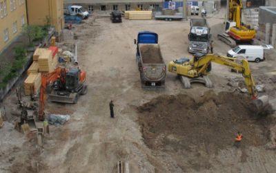 Bauarbeiten im Innenhof der Regierung von Oberbayern