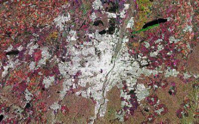 München vom Weltall aus betrachtet.