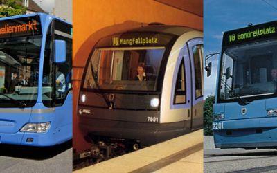 Die MVG-Flotte: Bus, U-Bahn und Tram.