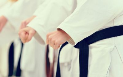 Judoka mit schwarzen Gürteln
