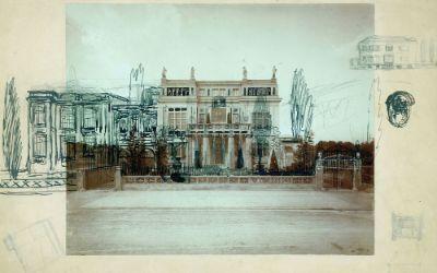 Fotografie der Villa Stuck um 1898 mit Entwurf des Neuen Ateliers
