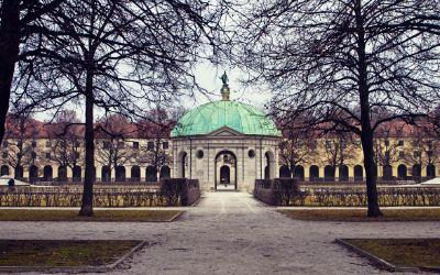 Hofgarten im Winter ohne Schnee