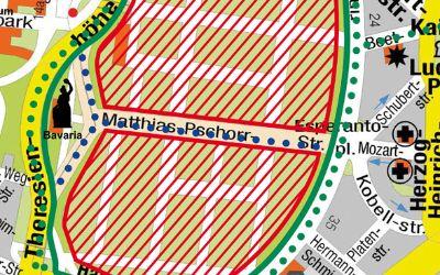 Querungsmöglichkeiten über die Theresienwiese in der Übersicht