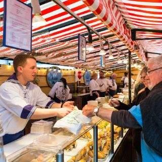 Stand auf dem Hamburger Fischmarkt