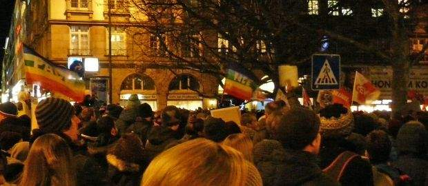 Demonstration gegen Bagida am Sendlinger-Tor-Platz