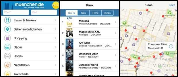 muenchen.de mobile App: Vorschaubild: Startscreen, Top-Film-Liste, Kino-Map