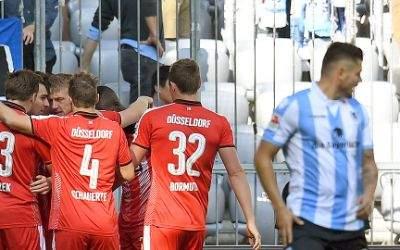 Jubel bei Fortuna Düsseldorf über das 1:0 gegen den TSV 1860.