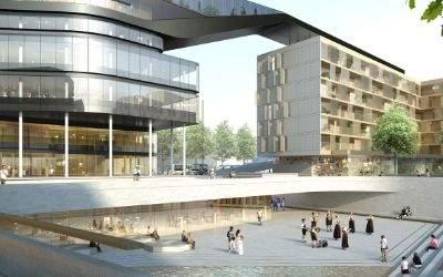 Visualisierung des Entwurfs von Delugan Meissl Associated Architects für die künftige Gestaltung am Hanns-Seidel-Platz in Neuperlach