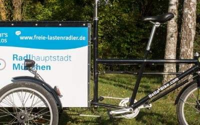Die Radlhauptstadt München bietet ein Lastenrad zur kostenlosen Nutzung an