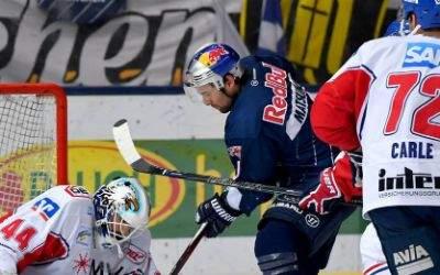Spielszene EHC Red Bull vs. Adler Mannheim.