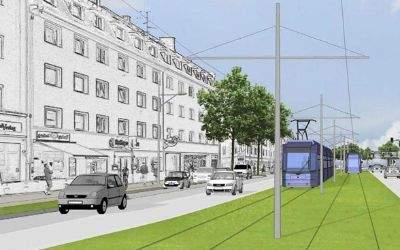 Visualisierung der Tram-Westtangente in der Fürstenrieder Straße
